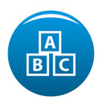 education abc blocks icon blue vector image