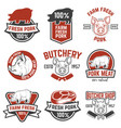 farm fresh pork meat emblems design elements for vector image vector image