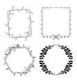 hand drawn flora frame set vector image vector image
