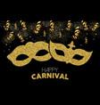 happy carnival gold glitter mask costume design vector image