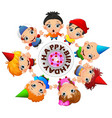 happy kids celebrating birthday vector image vector image