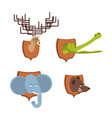 head animal hunter trophy set elephant and bear vector image vector image