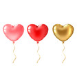 heart balloon cute gold pink and red vector image