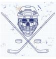 hockey player skull vector image vector image