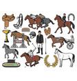horse race polo sport and jockey equipment vector image vector image