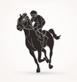 horse racing jockey riding horse graphic vector image vector image