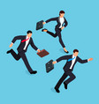 isometric businessmen running race isolated vector image vector image