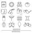 june month theme set of simple outline icons eps10 vector image vector image