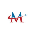 letter m travel airplane logo vector image