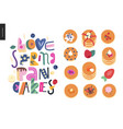 lettering composition love spring pancakes vector image vector image