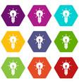 light bulb idea icon set color hexahedron vector image
