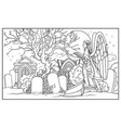line drawing for coloring cemetery with tombs vector image vector image