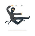 ninja assassin character in a full black costume vector image vector image