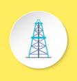 oil derrick icon in flat style on round button vector image vector image