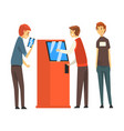 queue of people to atm man getting money through vector image