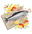 salmon red fish on cutting board realistic vector image