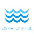 sea wave blue icons or water liquid symbols vector image vector image