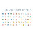 set flat icons hand and electric tools vector image