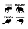 set graphics animals from different countries vector image