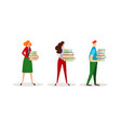 set male and female characters hold books heap vector image
