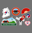 set of korean travel stickers vector image