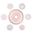set of seven geometric circular elements vector image