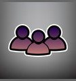 team work sign violet gradient icon with vector image