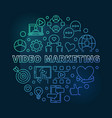video marketing round colorful linear vector image