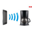 wireless controlling coffee maker with smartphone vector image