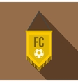 Yellow pennant with soccer ball icon flat style vector image