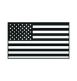 black USA flag on white background vector image