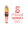 8 march womens day celebration poster with girl vector image