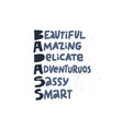 badass acronym girl power t-shirt print vector image