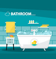 bathroom with bathtube cartoon flat design with vector image