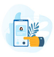 big hand presses the button on the smartphone vector image vector image