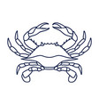 blue crab on white background vector image vector image