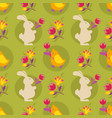bunny and eggs easter seamless pattern white vector image vector image
