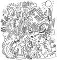 Cartoon doodles hand drawn houses vector image