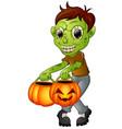 cartoon zombie holding pumpkin vector image