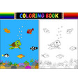 coloring book with sea animals vector image vector image