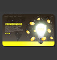 crowdfunding website landing page design vector image