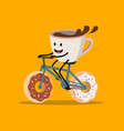 cup of coffee riding bicycle vector image vector image
