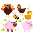Cute farm animals for spring isolated on white vector image vector image