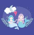 cute little mermaids holding hands moon cloud vector image vector image