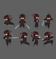 cute ninja cartoon japanese warrior with sword vector image