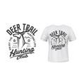 deer hunt t-shirt print mockup hunting club emblem vector image vector image