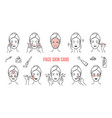 face skin care icons makeup removal and vector image