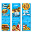 fast food restaurant menu sketch banners vector image vector image