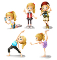 Five girls doing different things vector image vector image
