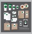 flat mock up stationery and packaging coffee shop vector image vector image